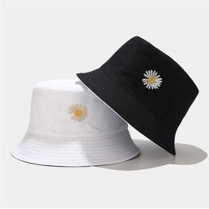 Cloches 두 측면 가역 여름 데이지 양동이 모자 여성 남성 코튼 모자 소녀 양면 데이지 밥 일 Femme 꽃 파나마 Hat1