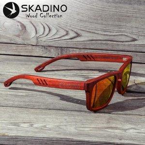 SKADINO UV400 Polarized Red Rose Full Wood Sunglasses Fashion Sun Glasses for Women Men Coated Gray Lens Handmade Cool Brand