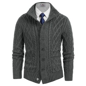 Hommes épais chandail manteaux Couleur solide Cardigan Cardigan Stand Collier Button-up Automne Hiver Homme Vêtements Diamant Câble Knitwear