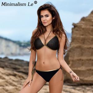 Minimalismo Le 2019 Sexy Bikinis Set Sólido Bikini Push Up Swimsuit Mulheres Bordered Swimwear Mulheres Plus Size Banhando Ternos Biquini1