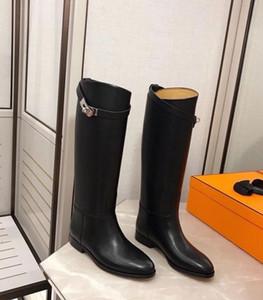 Invierno de moda Lady hebillas Martin botas largas de cuero genuino Comfort Kelly mujeres altas botas de la rodilla Knight sobre las botas Tamaño 35-42