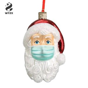 2020 3D Quarantine Christmas Ornament Santa Claus Pendant New Year Home Party Decoration for Shops Office Hotel Hospital