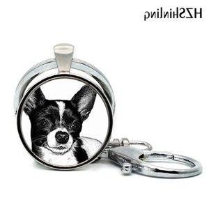 العصرية لطيف جديد chihuahua الكلب الزجاج قبة سيارة المفاتيح أزياء أنيمي الكرتون مجوهرات فريدة كيرينغ النساء