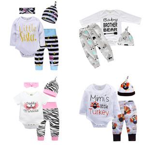 kids clothes girls boys outfits infant letter romper Tops+stripe pants+hats 3pcs sets Spring Autumn fashion baby Clothing Sets Z1815