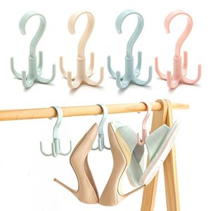 Multi-Function 360 Degrees Rotate Four Hooks Dry Wet Dual Use Towel Hanger Home Clothes Shoes Sundries Organizers Hanger