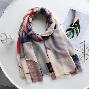 Scarves 2021 Fashion Silk Scarf Autumn Winter Lady Multicolor Women Sunscreen Soft Shawl Cotton Headscarf