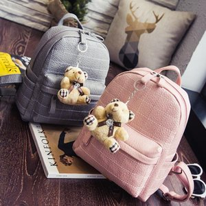Little bear women's backpack embroidery thread pendant fashion backpack PU leather wrinkle fashion travel