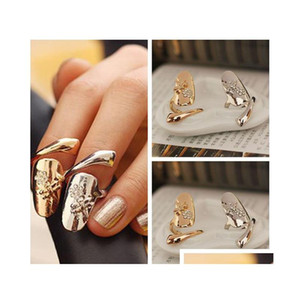 10Pcs Lot Exquisite Cute Retro Queen Dragonfly Design Rhinestone Plum Snake Gold Silver Ring Finger Nail Rings Xmtx1
