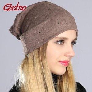 Bonnet de Geebro Femmes Hat Automne Casual strass coton uni Bonnet Slouchy pour les femmes Femme Balavaca SkulliesBeanies