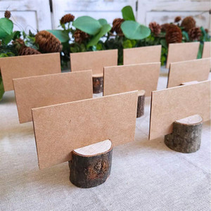 40pcs 20Sets Natural Wooden Bark Memo Holder for Party Decorative Wood Pile Name Place Card Holders Menu Wedding Birthday Decor