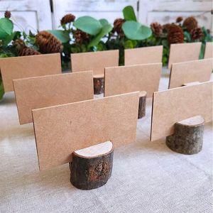 파티 장식 목재 더미 이름 장소 카드 홀더 메뉴 웨딩 생일 장식을위한 40PCS 20Sets 천연 나무 껍질 메모 홀더