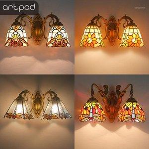 Artpad Nordic Romantico Paralume Variopinto Colorato Colorato Lampada da parete da camera da letto Camera da letto Asile Bracket Turco Bracket Light with Mermaid Base1