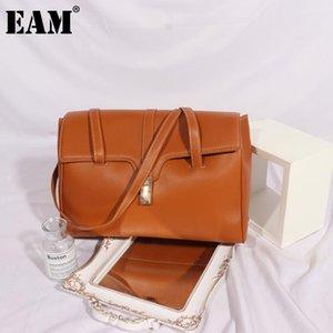 [Eam] Mulheres Novo Luxo Alta Qualidade Elegante PU Couro Flap Personalidade All-Match Crossbody Ombro Bag Moda 2021 18A1470