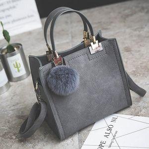 HISUELY 2020 Luxury Women Leather Handbags Ladies Shoulder Bag Designer High-grade Scrub Crossbody Messenger Bag Hairball Purses