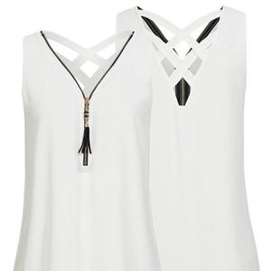 2021 New Sleeveless Sweater Zipper Chiffon Women's Blouses Summer Single Shirts Wears Solid Color Plus Size Mpug