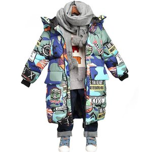 HH Kids Winter Jacket for Girls Hooded Graffiti Camouflage Parkas for Teenagers Boys Girls Thick Long Coat Kids Clothes Parkas 201109
