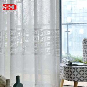 White Geometric Window Tulle Curtain for Living Room Modern Voile Sheer Curtain for Bedroom Blinds Liner Kitchen Single Panel LJ201224