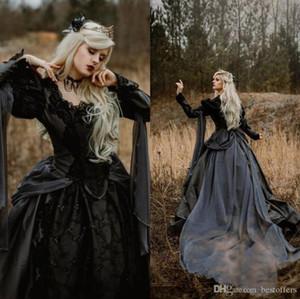 2021 платье Элегантный бальное платье Medieval готические свадебные платья серебро и черный Ренессанс Фантазия Викторианский Вампиры с длинным рукавом Люкс