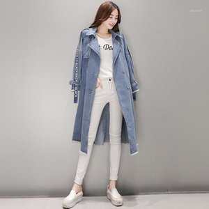 fashion Women Trenchcoat Loose Jeans Denim Coat Long Coat Oversize Split Windbreaker Female Overcoat Winter Autumn Trench Coats1