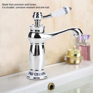Antique Br Faucet Bathroom Sink Faucet Blue White Porcelain Long Neck Kitchen Cold Hot Water Basin Tap,Chromed1