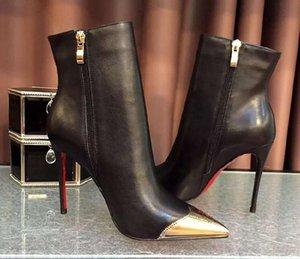 Kırmızı Tole Kadınlar Yüksek Topuk Çizmeler Metal Sivri Burun 10 cm Ince Topuk Siyah Deri Çizmeler 8 CM Gerçek Deri Kadın Boot 35-41 Toz Çanta
