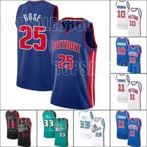 Derrick 25 Basketbol Rose Jersey Grant 33 Hill Jersey Isiah Dennis Thomas Rodman Formalar DetroitPistonJersey Throwback Jersey