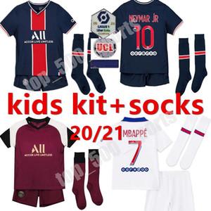 20 21 Kit Kit Kit de futebol Jersey Maillot 2020 2021 Mbappe Icardi Enfant Maillot De Pé Uniforme Juventude N E Y M Uma camisa de Futebol de Veratti