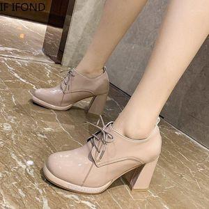 Если ifond 2021 весна осенью сексуальная платформа женская обувь насосы толстые высокие каблуки дизайнер бренда PU кожаные ботинки1