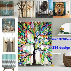 180*180cm Christmas Shower Curtains 3D Printing Tree Beach Shell Waterproof Bathroom Shower Curtain Decoration With Hooks GWD4654
