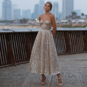 New Glitter Pink Sequins Evening Dress Sweetheart Backless Tea Length Bridal Gowns Shiny 2021 Party Formal Wear Robe De Soriee