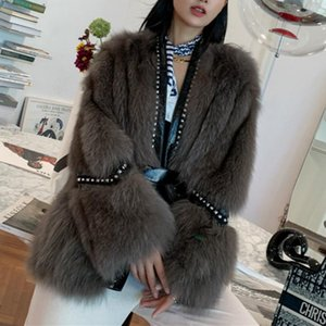 2020 New Arrival Designer Real Fur Coat Women Genuine Leather Jacket Studded Winter Warm Lady Overcoat Outwear