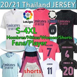 Реал трикотажных изделий 20 21 футбола Джерси ОПАСНОСТИ SERGIO RAMOS игрока Camiseta футбол рубашка дом форменных мужчин + дети комплектов комплекты женщины 2020 2021