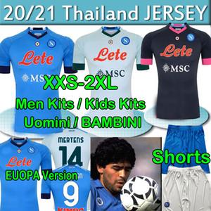 2020 21 Napoli Soccer Jerseys 나폴리 Calcio Maradona Koulibaly osimhen insigne mertens H.Lozano Maillots 남자 키즈 키트 축구 셔츠 바지