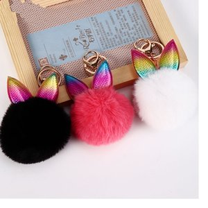 Creative Rabbit Ear Keychain Soft Fur Ball Lovely Gold Metal Key Chains Pom Pom Plush Keychains Bag Car Keyring Party Favor OWF2250