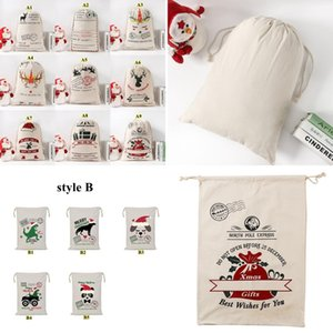 Christmas Gift Bags Cotton Canvas Bag Santa Sacks Monogrammable Santa Sack Drawstring Bag Christmas Decorations Santa Claus Deer OWB2558