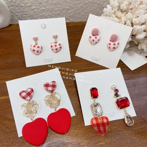 MENGJIQIAO Мода Корейский Красное сердце Кристалл падение серьги для женщин девушки Симпатичные помпон Бал Pendientes Christmas Party Jewelry