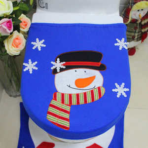 Snowman Pattern Christmas Toilet Seat Cover WC Bathroom Warmer Closestoo Xmas Home Decoration
