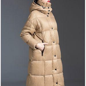 Obrix Trendy Loose Hooded Female Jacket Duck Down Filler Long Single Breasted Coat Full Sleeve Winter Parka For Women 201013