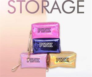 Women Makeup Bag Pink Laser Travel Cosmetic Bag Toiletry Wash Pouch Beauty Box Zipper Designer Make Up Organizer Handbag Storage Case