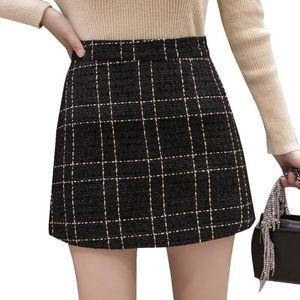 Autumn Winter Mini Tweed Skirt Women Sexy Plaid Skirts Womens Fashion Korean High Waist Hip Package Short Skirt cute femme jupes