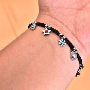 OSOS Bijoux en acier inoxydable Femmes cadeau Macrame Madmade Tressage Hamsa Main Moon Star Flower Bears Bears Bracelet Taille réglable