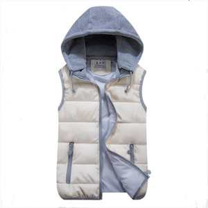 womens cotton wool collar hooded down vest Removable hat Hot high quality Brand New female winter warm Jacket Outerwear Thicken