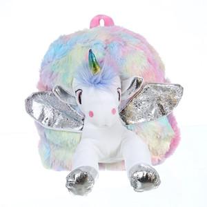 Baby Girl Unicorn меховой рюкзак милые дети школьница застенчивания застенчивания рюкзак mini ребенок игрушечный рюкзак для жгуты новая плюшевая сумка c1223