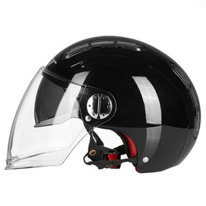 Motorcycle Helmets Bright Black Helmet Motorbike Biker Open Face Dual Lens Scooter Motorcross Riding Moto Crash For Men