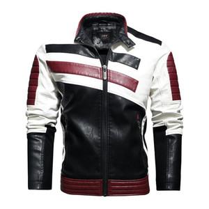 Kadife Sıcak Deri Ceket Hip Hop Motosiklet Eşleştirme Renk PU Ceket İşlemeli Artı boyutu 4XL ile Mens Tasarımcısı Sonbahar Kış Ceket