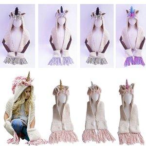 2 In 1 Unicorn Scarf Cap Kids Infant Llama Warm Knitted Hats Children Cartoon Warmer Winter Manual Crochet Tassels Hat 2 -12 Years