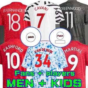 Игрок 20 21 Домашний футбол для футбола B.FERNandes Rashford HRFC 2020 Футбол Мужские рубашки Дети Манчестер Гринвуд Ван де Бик Кавани Юнайтед