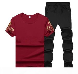 Summer Men Sport Tracksuit Printed Slim Cool Short Sleeves T-shirt With Joggers Pants Casual Suit