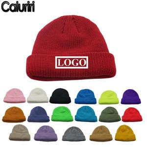 Шапочки / черепные колпачки цветные команды клуба акриловая вязаная сплошная дыня шляпа на заказ DIY логотип печати вышивка зимняя печать для женщин мужчины Z-301