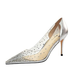 High Heels Women Pumps stiletto Transparent High Heels 2021 New Shoes Pointed Toe Wedding Party Shoes Plus Size